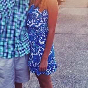 Lilly Pulitzer blue strapless cotton dress